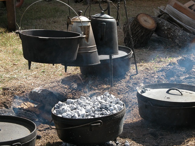 Dutch oven cooking at the campsite.