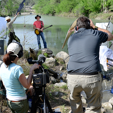 Kevin Fowler with Texas Parks and Wildlife video crew shooting Take Care of Texas PSA
