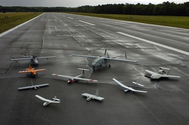 A group photo of aerial demonstrators at the 2005 Naval Unmanned Aerial Vehicle Air Demo held at the Webster Field Annex of Naval Air Station Patuxent River