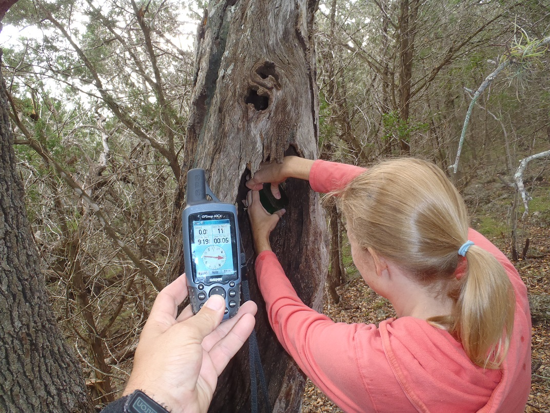 Geocaching in a state park.