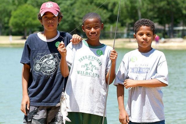 Kids enjoying a day of fishing