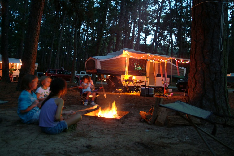 Family camping trip at Bastrop State Park