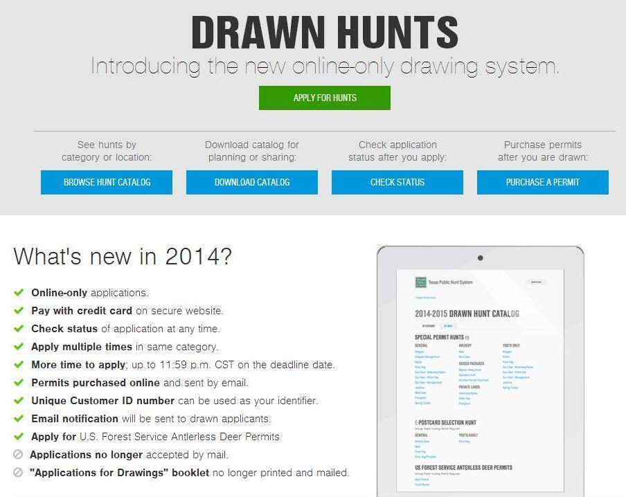 New Online Drawn Hunts System