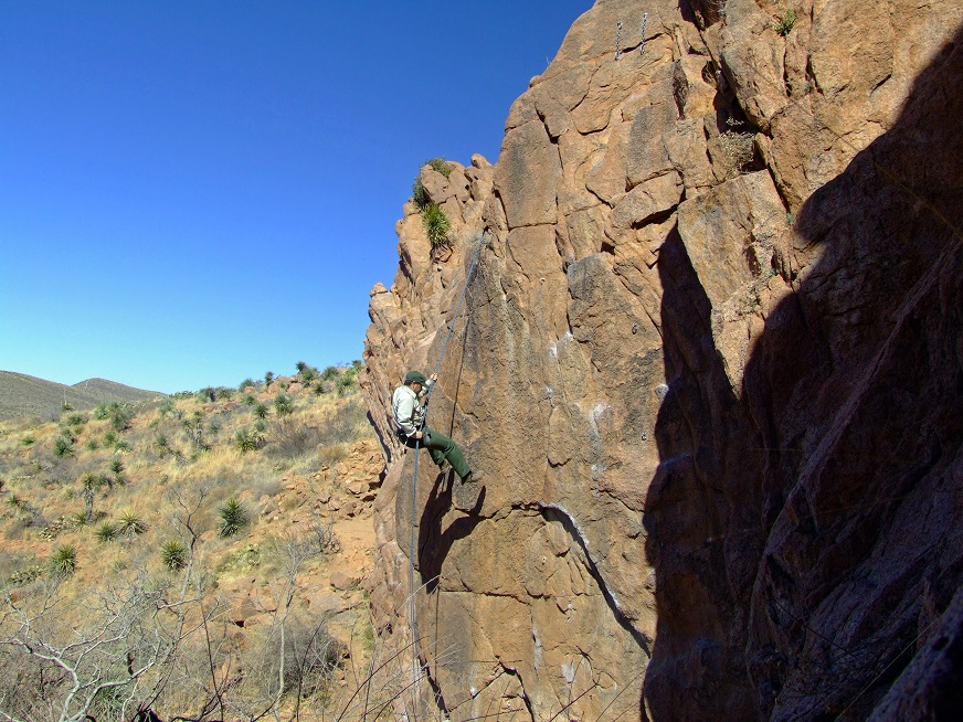 Rappelling at Tom Mays Unit Franklin Mountains