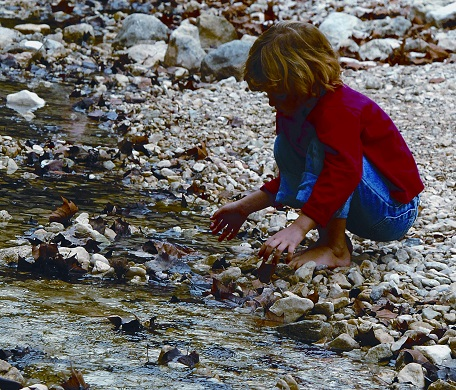 Girl exploring stream at Lost Maples State Natural Area