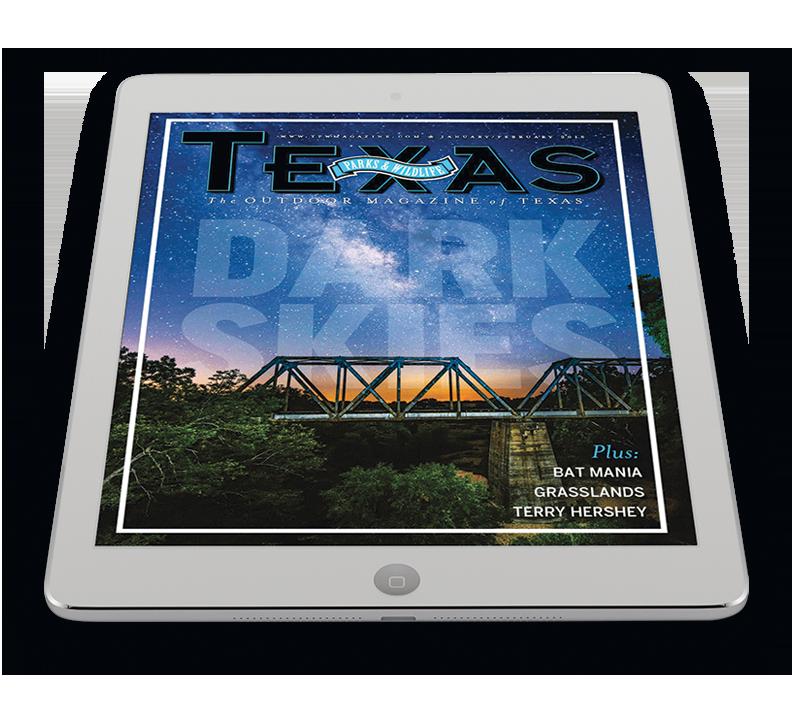 Texas Parks and Wildlife Magazine on an iPad.