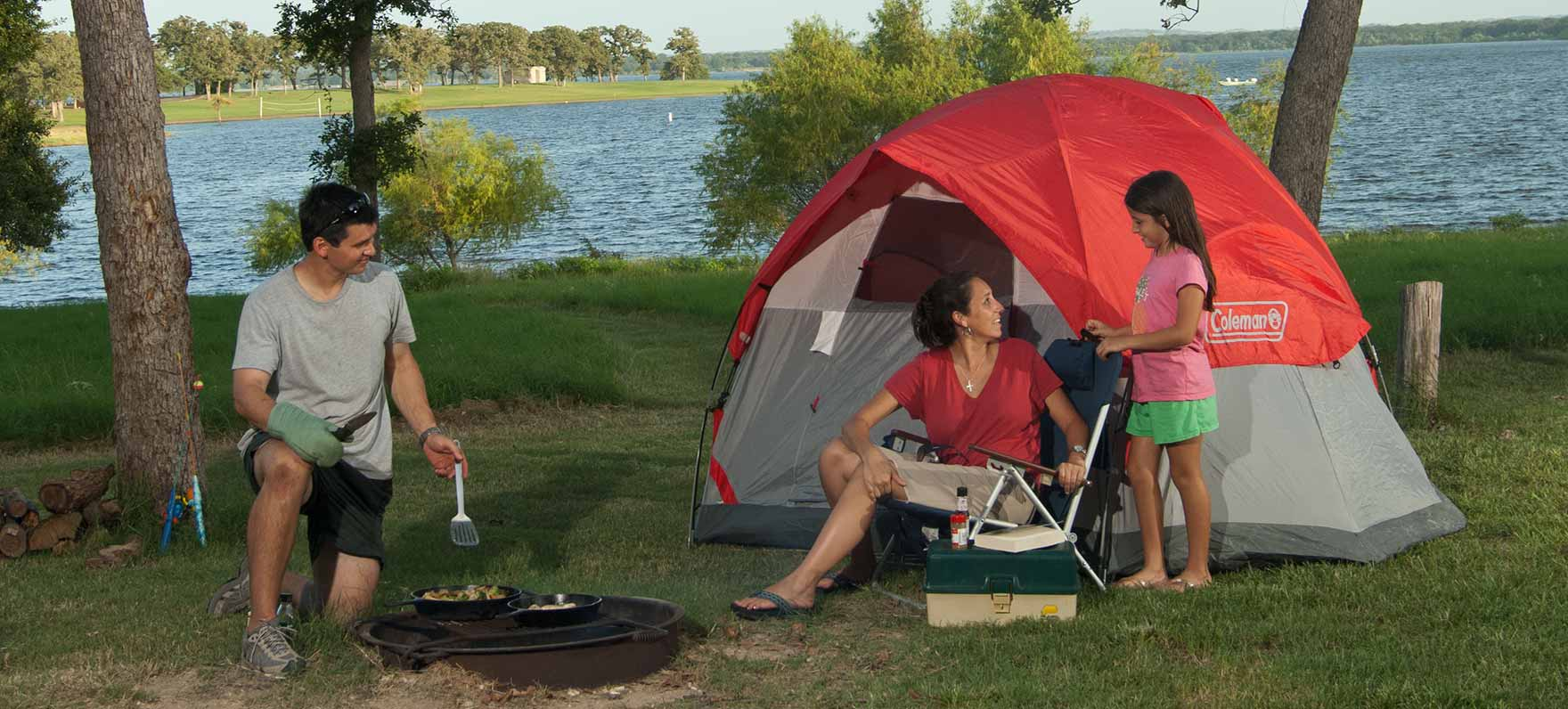 A family camp out at lake Somerville State Park and Trailway.
