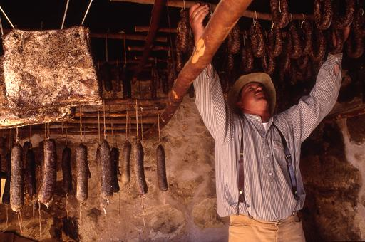 Hanging sausage to dry at Sauer-Beckmann Living History Farm