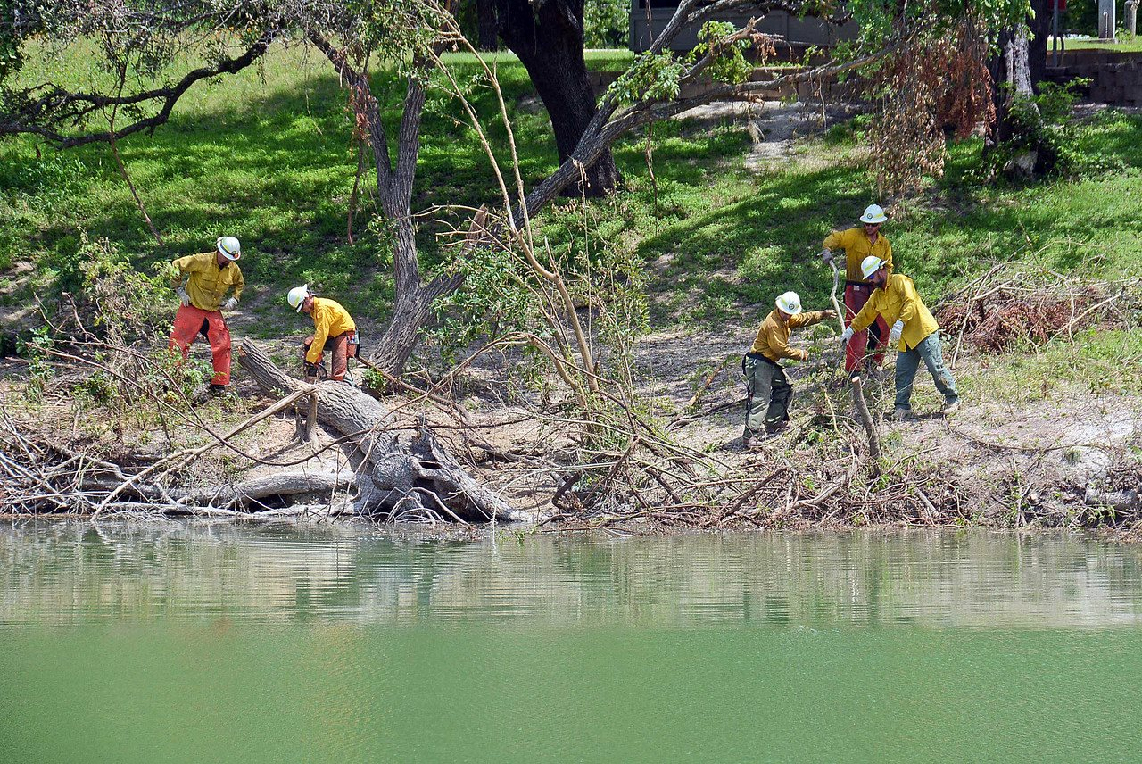 Texas A & M Forest Service volunteering at Blanco State Park, image from Blanco State Park Facebook Page.