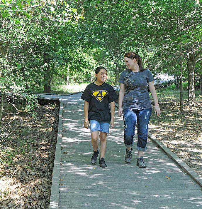 Enjoying the boardwalk trail at Sheldon Lake State Park.