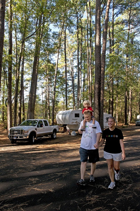 Family Hiking Near RV at Daingerfield State Park.