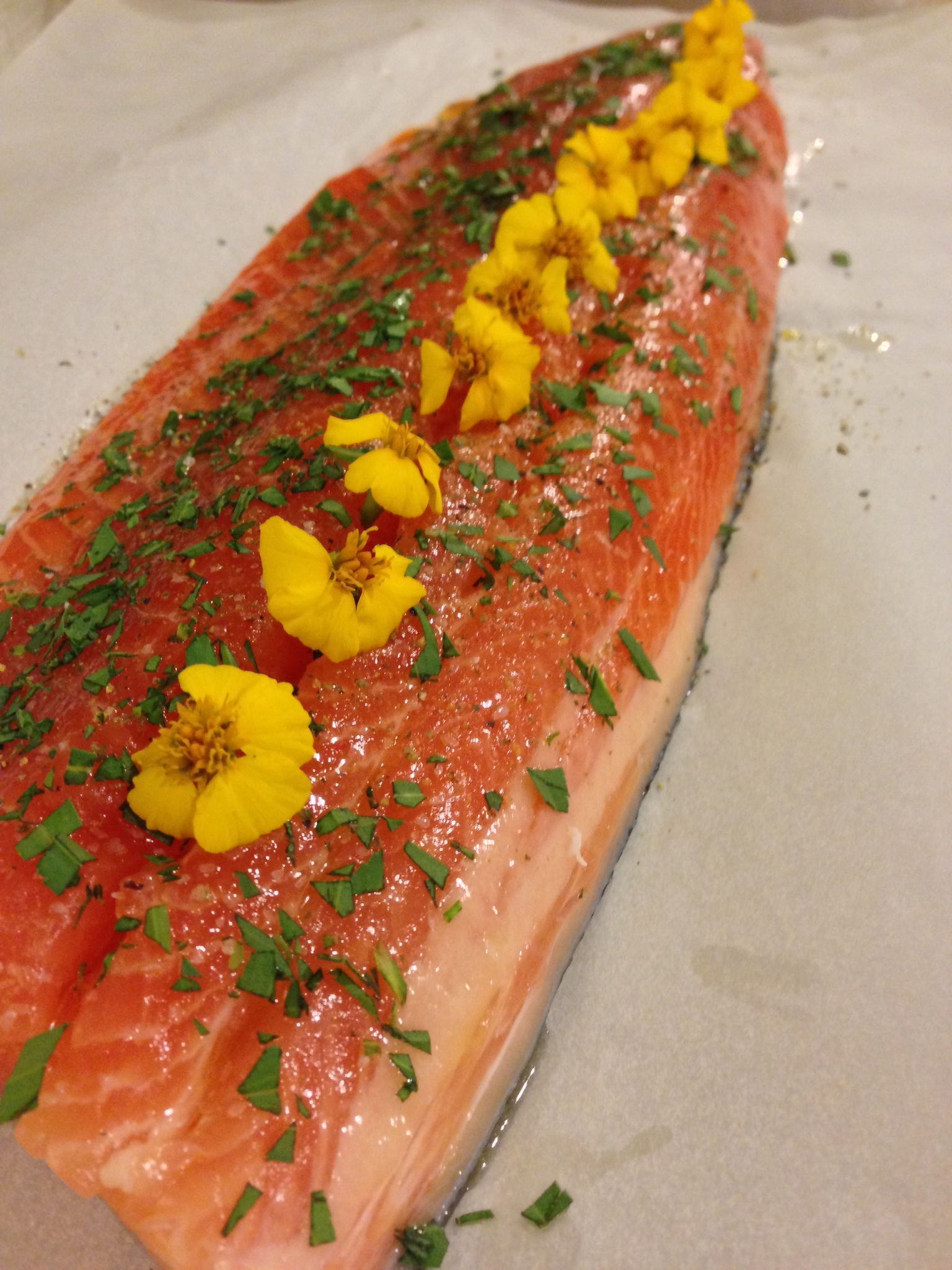 Baked trout.