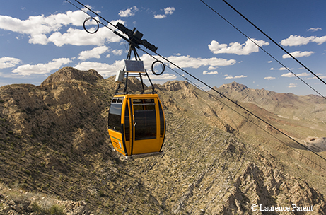 Texas, Wyler Aerial Tramway State Park in the Franklin Mountains above El Paso, gondola. Photo credit: Laurence Parent