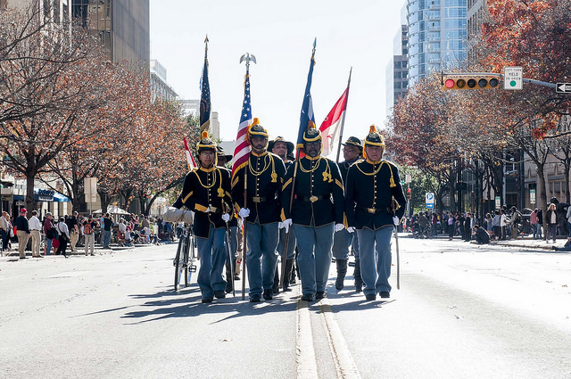 Buffalo Soldier reenactors participating in parade in downtown Austin, Texas.