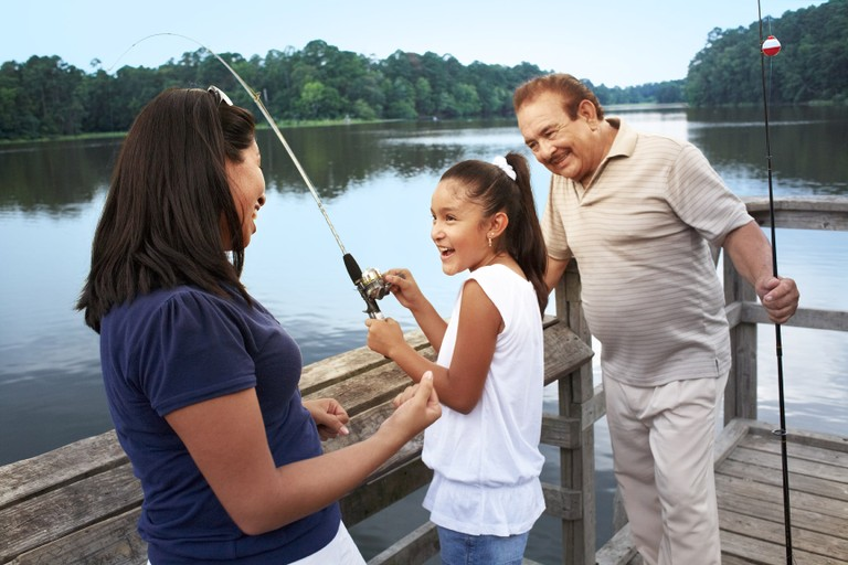 Fishing with family.