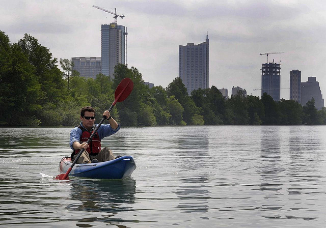 Kayaking on Lady Bird Lake in Austin, Texas. Photo credit: ©2011 Chase A. Fountain / TPWD