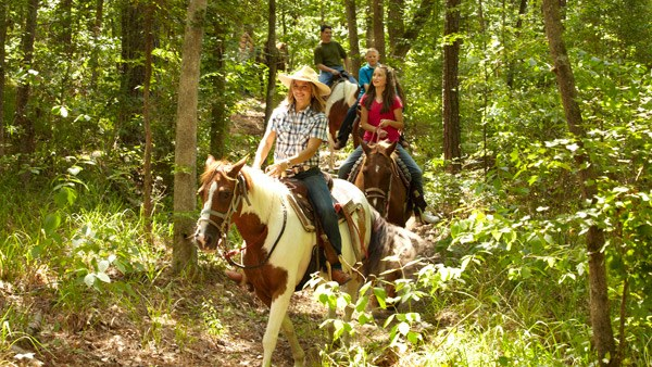 Enjoying a trail ride in a State Park.