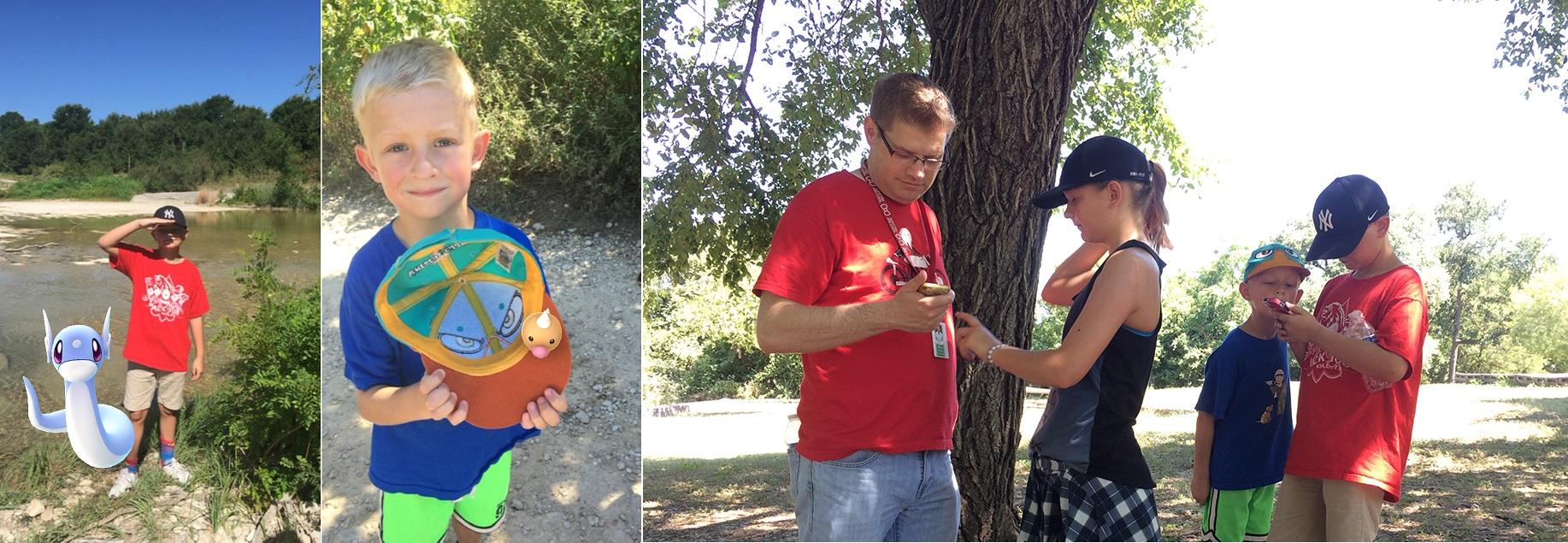 Nathan Adams and his kiddos searching for Pokémon.