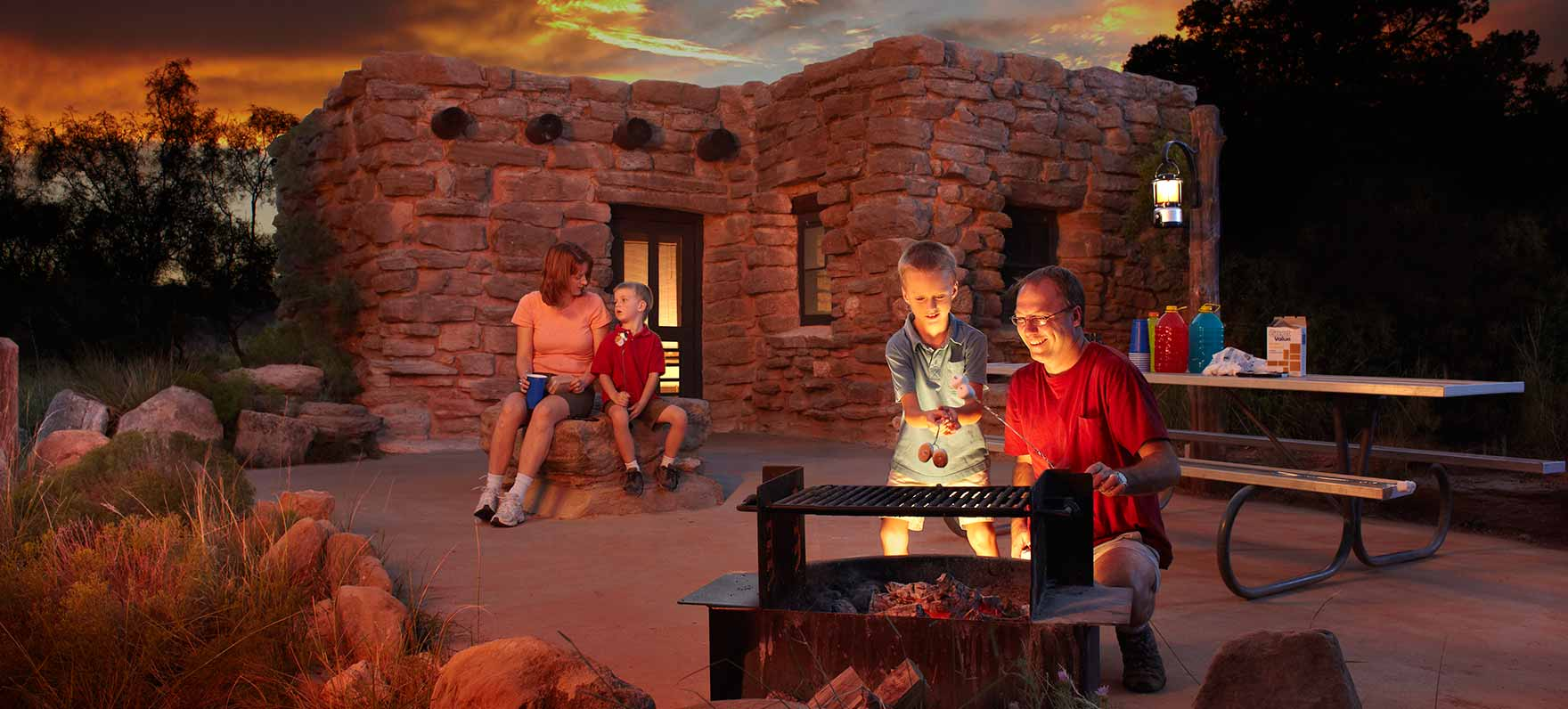 Enjoying the amenities at Palo Duro Canyon State Park.