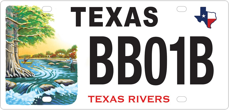 Texas Rivers conservation license plate.