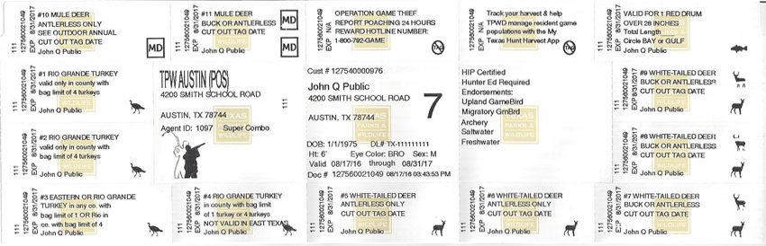 Front of Texas hunting license