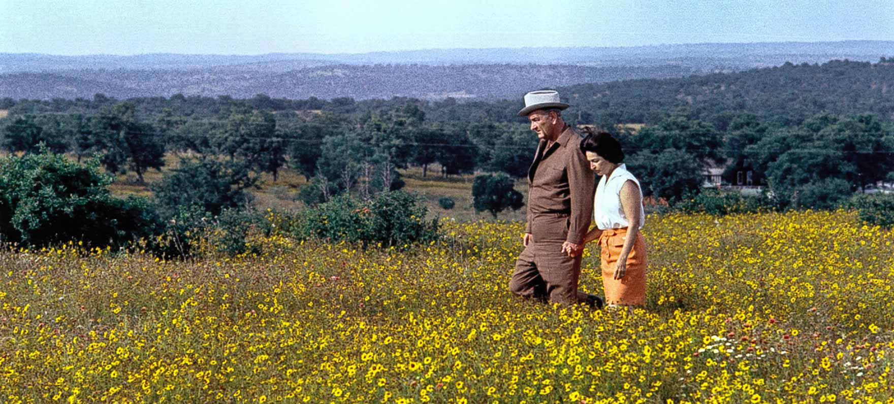 LBJ and Lady Bird enjoying the wildflowers in his beloved Texas Hill Country.