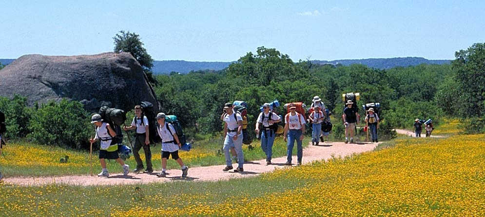 Hiking Enchanted Rock State Natural Area.