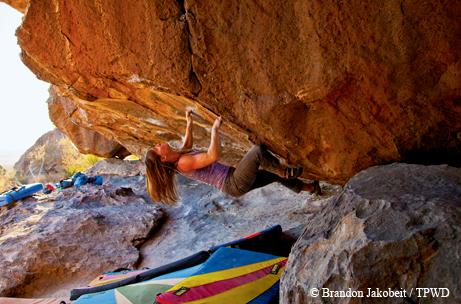 Bouldering at Hueco Tanks State Park. Image: Brandon Jacobeit.