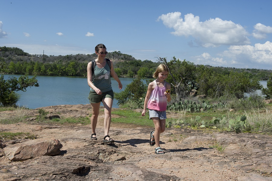 Family hike at Inks Lake State Park.