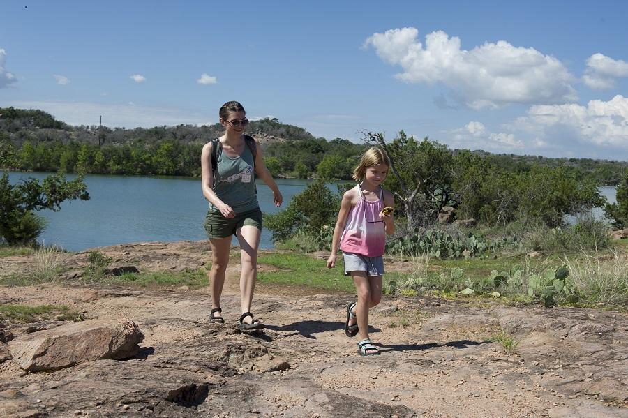 Family hike at Inks Lake State Park.