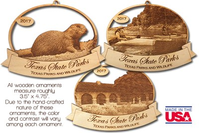 Ornaments for the holidays or any days to celebrate Texas State Parks.