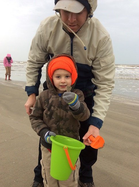 Beachcombing on Galveston Island in Winter.