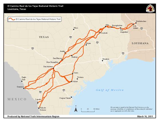 El Camino Real de los Tejas National Historic Trail (U.S. National Park Service)