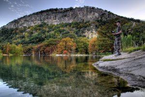 Fall foliage and fishing at Garner State Park