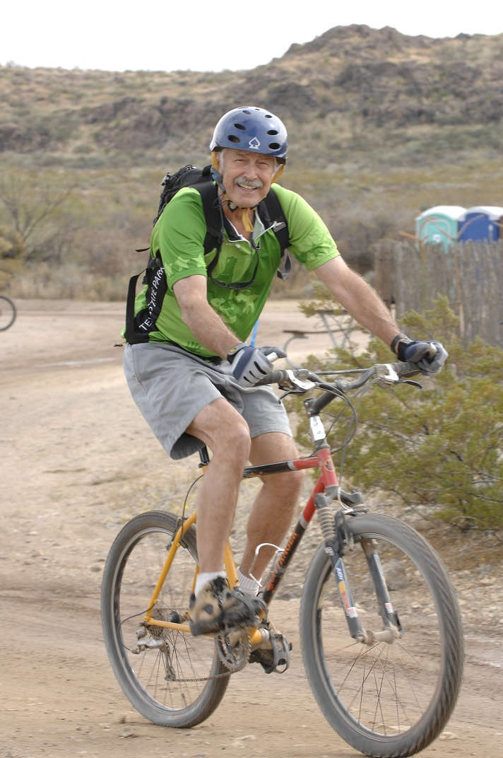 Walt Dabney takes a stroll on his mountain bike.